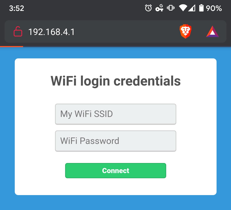 Captive portal login page